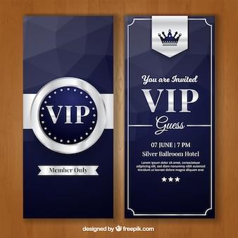 Pacote exclusivo de cartões de prata vip elegante