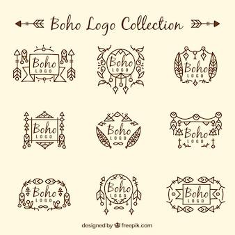 Pacote fantástico de logos plana com decoração étnica