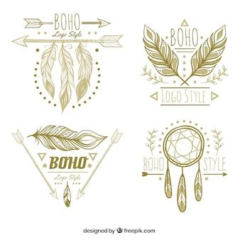 Pacote fantástico de logotipos com penas decorativas