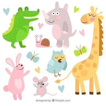 Pacote feliz de animais de desenho animado