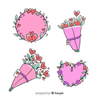 Pacote floral dos namorados dos desenhos animados