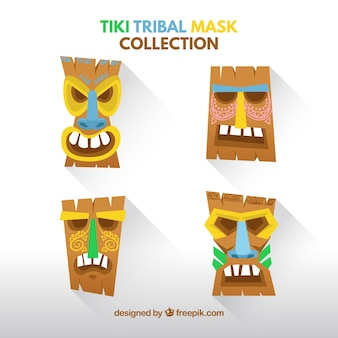 Pacote fresco com variedade de máscaras tiki