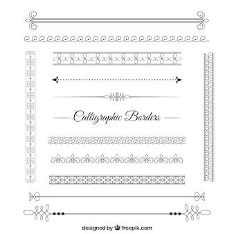 Pacote fronteiras caligráfica abstrata