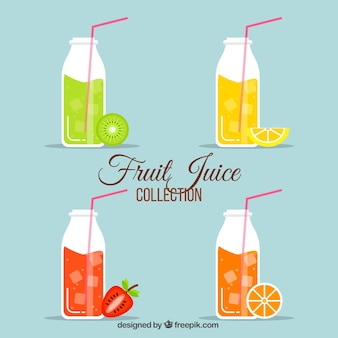Pacote, garrafas, fruta, sucos