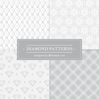Pacote geométrica de quatro padrões de diamantes em tons de cinza