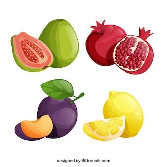 Pacote, gostosa, frutas, realístico, desenho