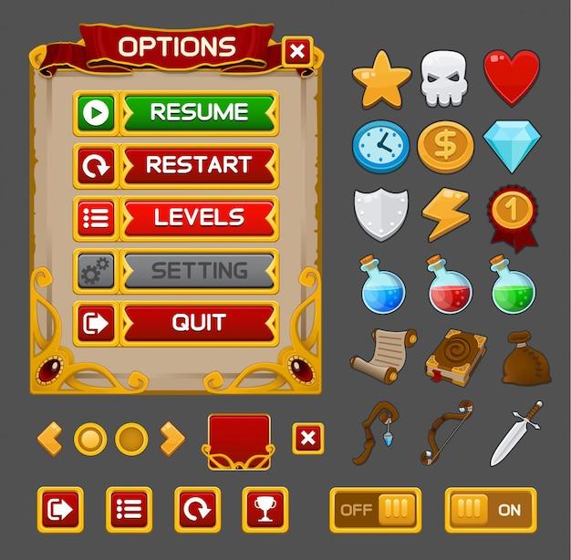 Pacote gui de jogo medieval