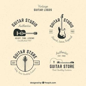 Pacote, guitarra, logotipos, vindima, estilo