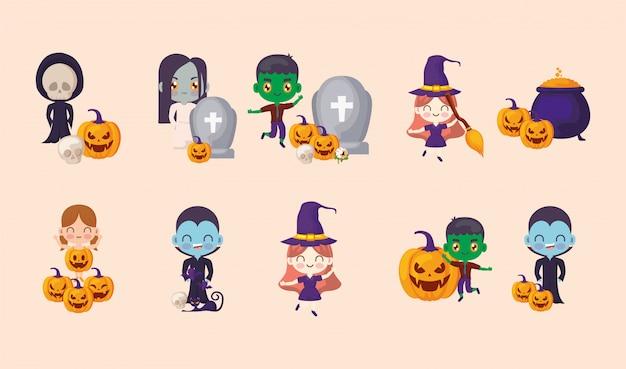 Pacote halloween com conjunto de ícones