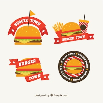 Pacote, hambúrgueres, logotipos, liso, desenho