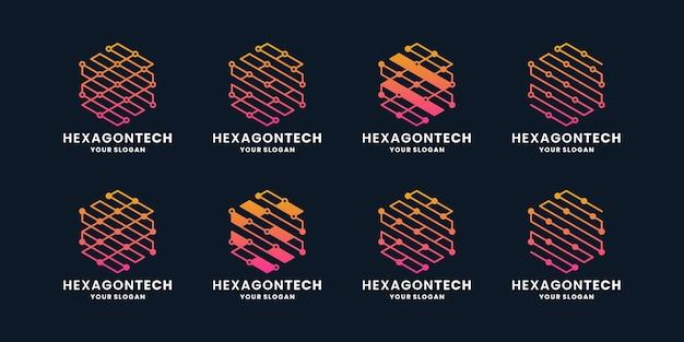Pacote hexágono de design de logotipo de tecnologia abstrata,