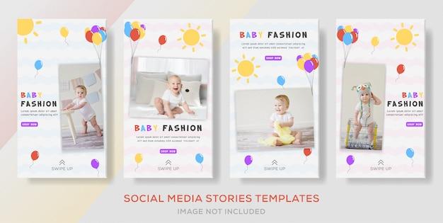 Pacote histórias de banner post para loja de venda de moda bebê