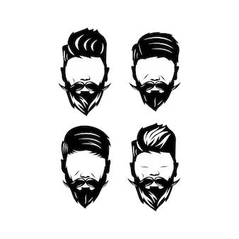 Pacote homem rosto bonito barbeiro