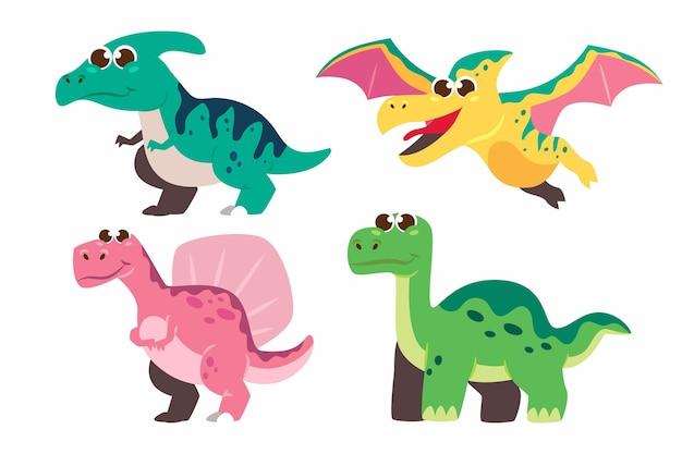 Pacote ilustrado de bebê dinossauro de desenho animado