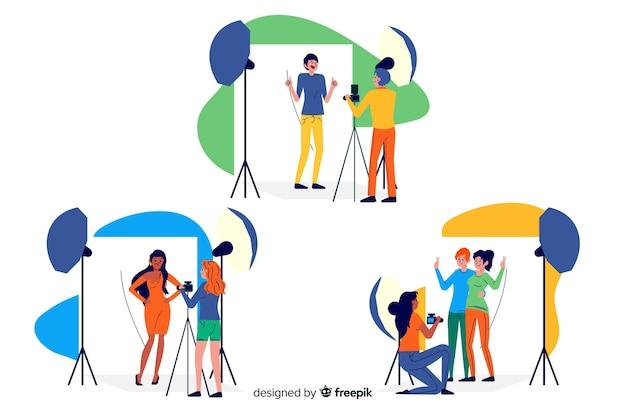 Pacote ilustrado de fotógrafos trabalhando