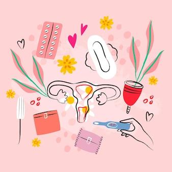 Pacote ilustrado de produtos de higiene feminina