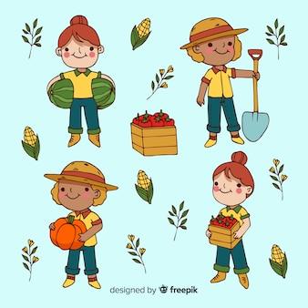 Pacote ilustrado de trabalhadores agrícolas de design plano