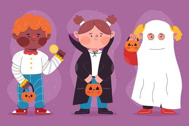Pacote infantil de halloween de design plano