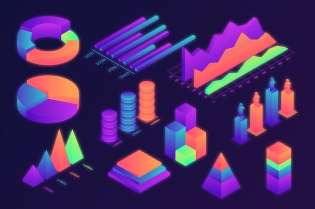 Pacote infográfico isométrico colorido