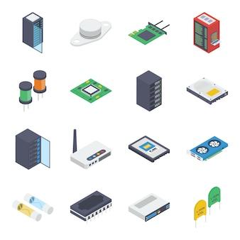 Pacote isométrico de hardware de pc