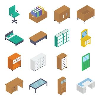 Pacote isométrico de mobiliário de interior