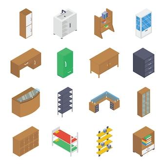 Pacote isométrico de móveis domésticos