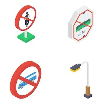 Pacote isométrico de sinais de trânsito
