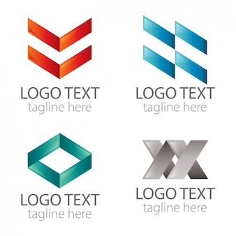 Pacote logos geométrico abstrato