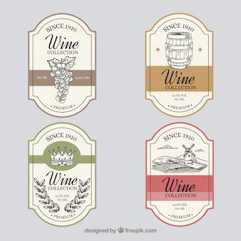 Pacote, mão, desenhado, vindima, vinho, etiquetas