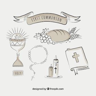 Pacote, mão, tirado, religiosas, itens