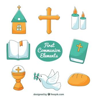 Pacote, mão, tirado, religioso, itens