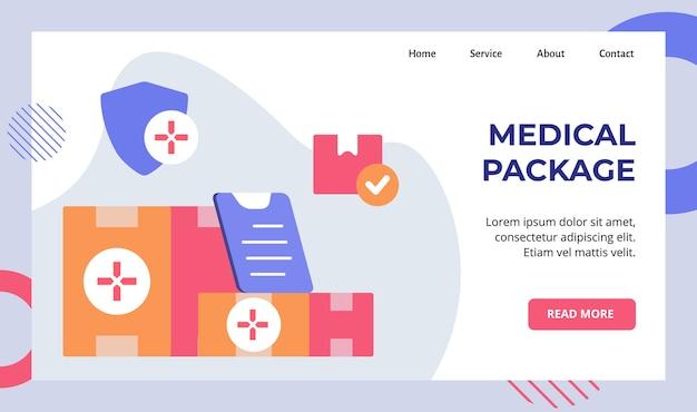 Pacote médico na campanha de entrega de caixa para página inicial da página inicial do website