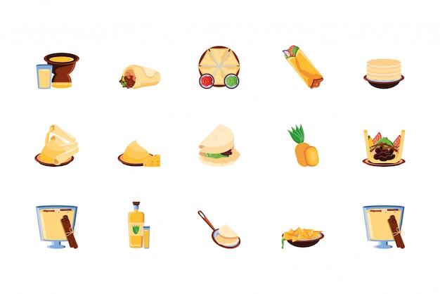 Pacote mexicano tradicional conjunto de ícones