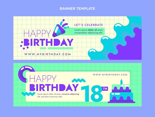 Pacote mínimo de banners de aniversário de design plano