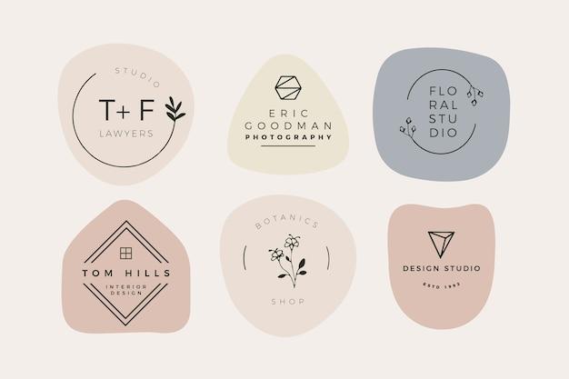 Pacote mínimo de logotipo com cores pastel