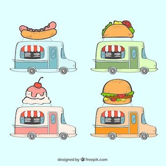 Pacote moderno de caminhões de comida desenhados à mão