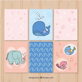 Pacote moderno de cartões de animais desenhados a mão
