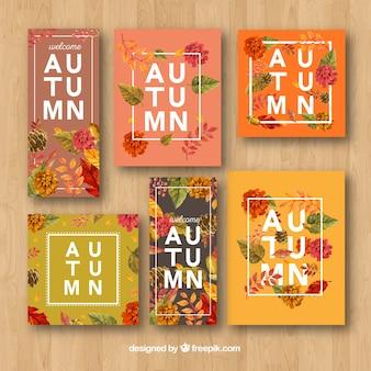 Pacote moderno de cartões de outono floral
