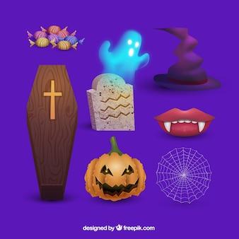 Pacote moderno de elementos de halloween