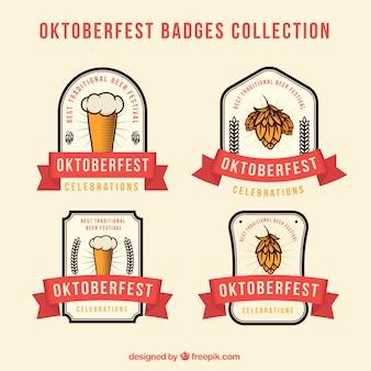 Pacote moderno de emblemas mais oktoberfest com fitas