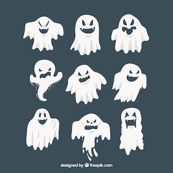 Pacote moderno de fantasmas de halloween