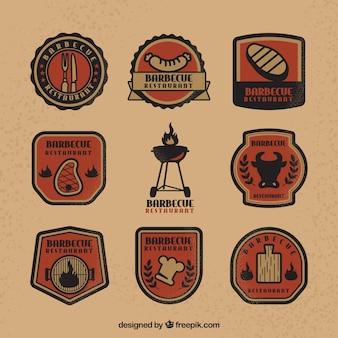 Pacote moderno de logotipos para churrasco