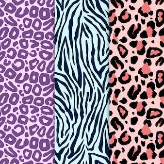 Pacote moderno de padrões de estampas de animais