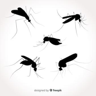Pacote mosquito silhueta plana
