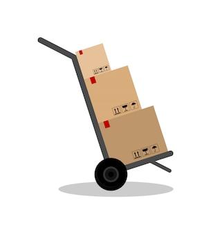 Pacote no carro. entrega de encomendas.
