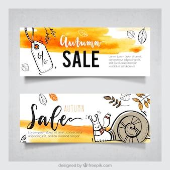Pacote original de banners de venda de outono de aquarela