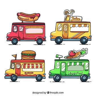 Pacote original de caminhões de comida desenhados a mão