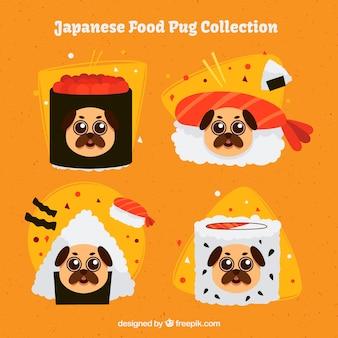 Pacote original de comida japonesa com pugs
