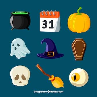 Pacote original de elementos de halloween