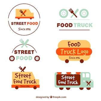 Pacote original de logos de caminhão de alimentos divertidos